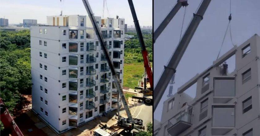 une entreprise chinoise construit un immeuble de dix étages en moins de 2 jours