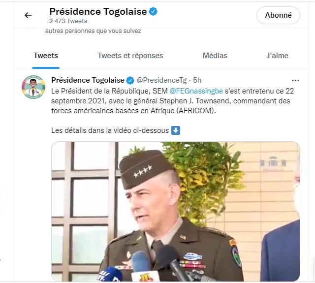 le général américain Stephen Townsend à Lomé