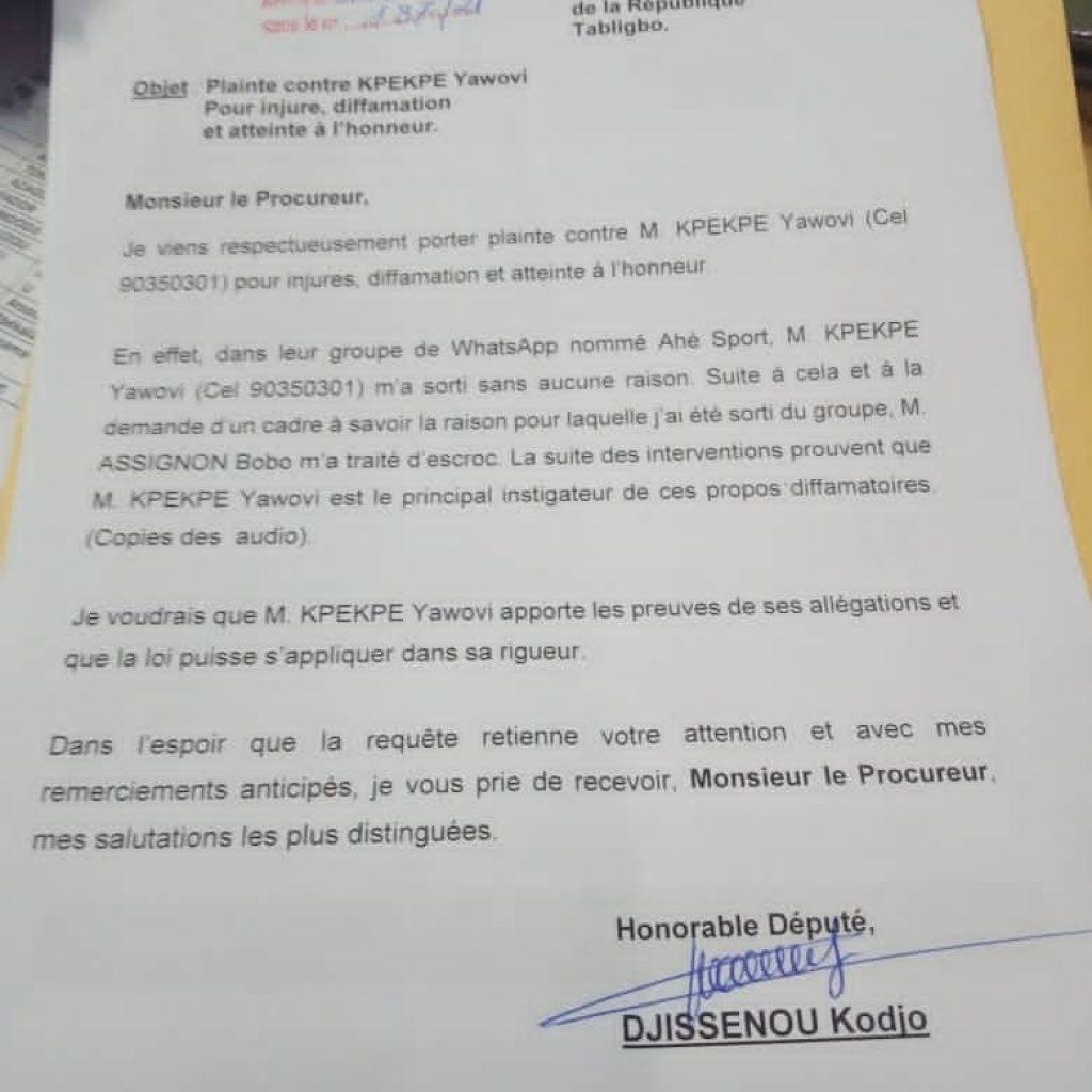 retiré d'un groupe WhatsApp, le député Djissénou saisit le procureur et réclame justice